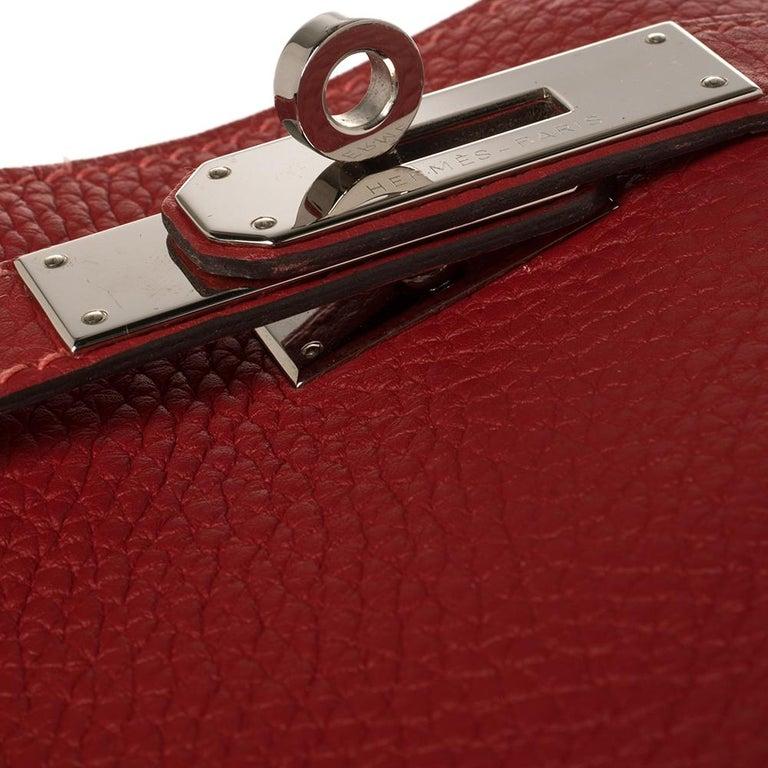 Hermes Rouge Casaque/Rose Jaipur Togo Leather Palladium Hardware So Kelly 26 Bag For Sale 7