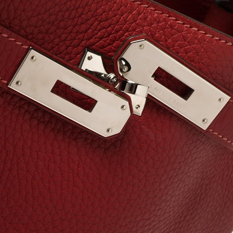 Hermes Rouge Casaque/Rose Jaipur Togo Leather Palladium Hardware So Kelly 26 Bag For Sale 8