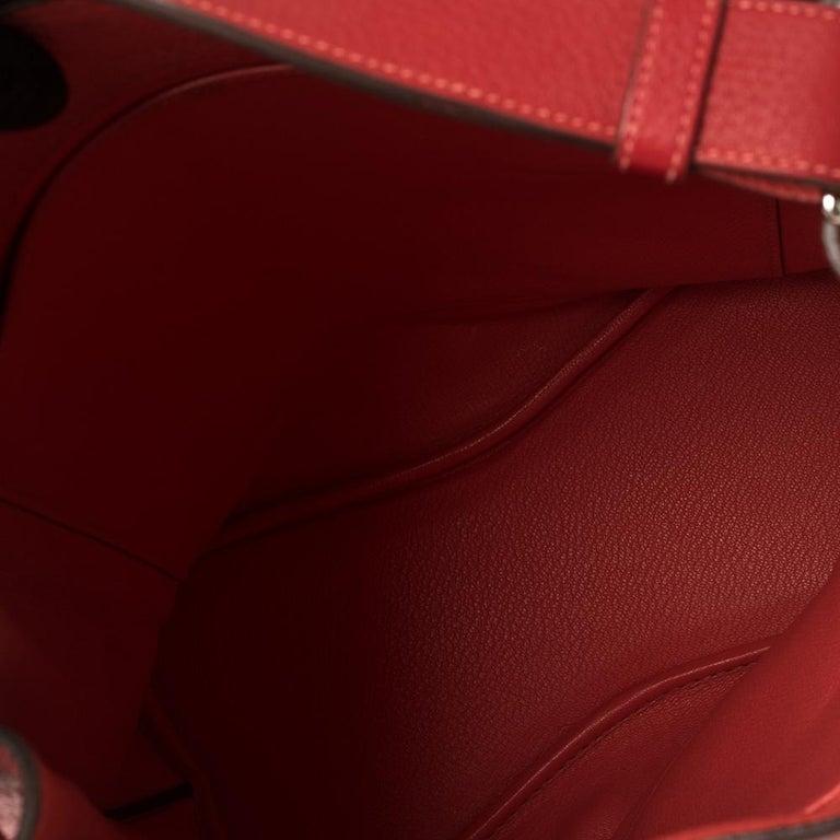 Hermes Rouge Casaque/Rose Jaipur Togo Leather Palladium Hardware So Kelly 26 Bag For Sale 10