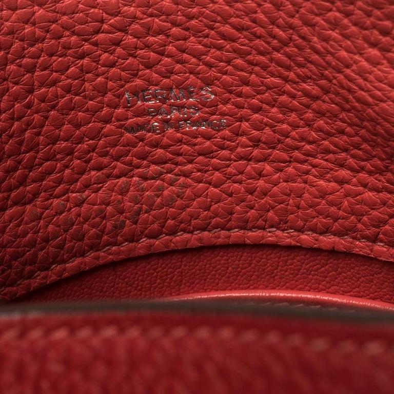 Hermes Rouge Casaque/Rose Jaipur Togo Leather Palladium Hardware So Kelly 26 Bag For Sale 4