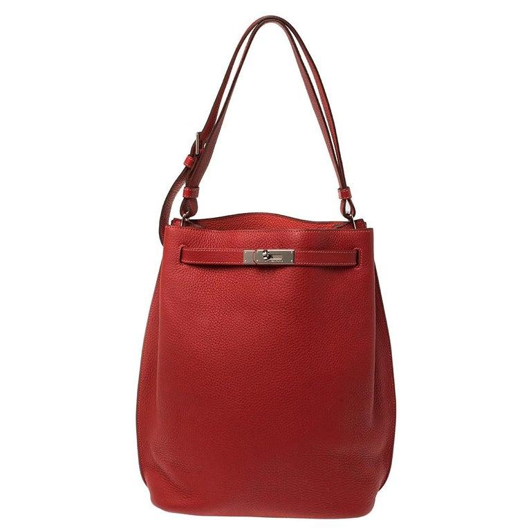 Hermes Rouge Casaque/Rose Jaipur Togo Leather Palladium Hardware So Kelly 26 Bag For Sale
