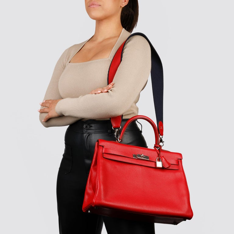 Hermès Rouge Casaque Togo Leather Kelly 35cm  For Sale 8