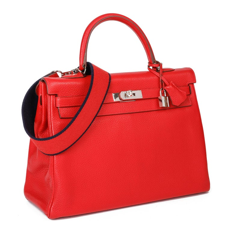 HERMÈS Rouge Casaque Togo Leather Kelly 35cm   Xupes Reference: CB346 Serial Number: [P] Age (Circa): 2012 Accompanied By: Hermès Box, Dust Bag, Lock, Keys, Clochette, Shoulder Strap Authenticity Details: Date Stamp (Made in France) Gender: