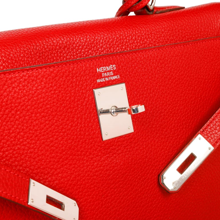 Hermès Rouge Casaque Togo Leather Kelly 35cm  For Sale 3