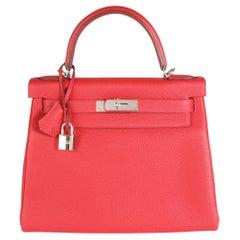 Hermès Rouge Casaque Togo Retourne Kelly 28 PHW