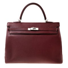 Hermes Rouge Clemence Leather Palladium Hardware Kelly Retourne 35 Bag