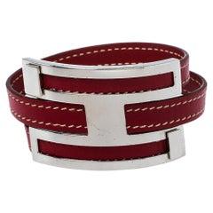 Hermès Rouge Garance Chamonix Leather Pousse Pousse Bracelet