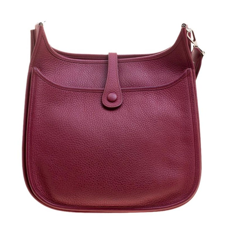 Hermes Rouge Garance Clemence Leather Evelyne III PM Bag For Sale at ... 0d91cbdfd3