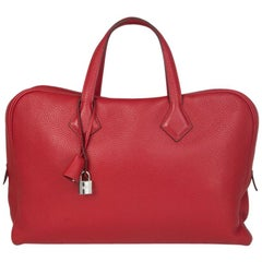 HERMES Rouge Garance Clemence leather VICTORIA II PORTE-DOCUMENTS Briefcase Bag