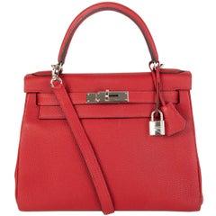 HERMES Rouge Garance red Togo leather KELLY 28 RETOURNE Bag