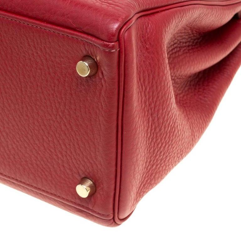 08f2a13453c Hermes Rouge Garance Togo Leather Gold Hardware Kelly Retourne 35 Bag For  Sale 6