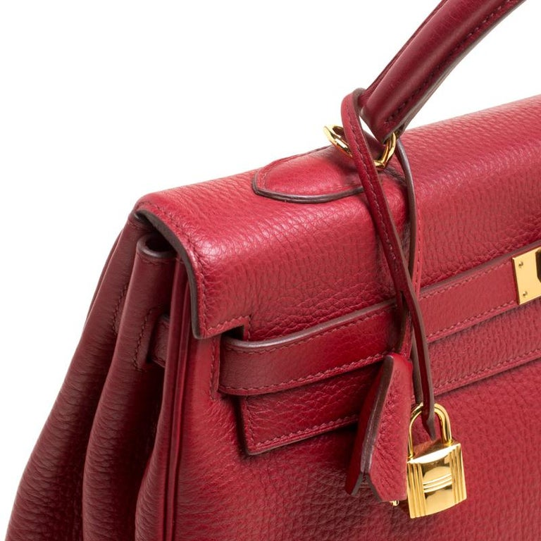 9e20200b80b Hermes Rouge Garance Togo Leather Gold Hardware Kelly Retourne 35 Bag For  Sale 7