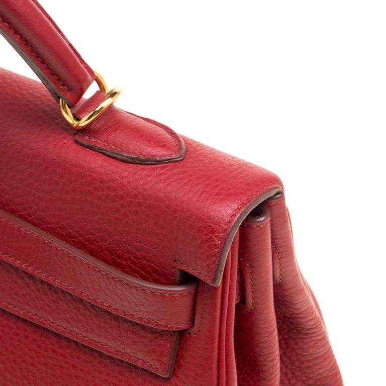 1e623c35ea7 Hermes Rouge Garance Togo Leather Gold Hardware Kelly Retourne 35 Bag For  Sale 11