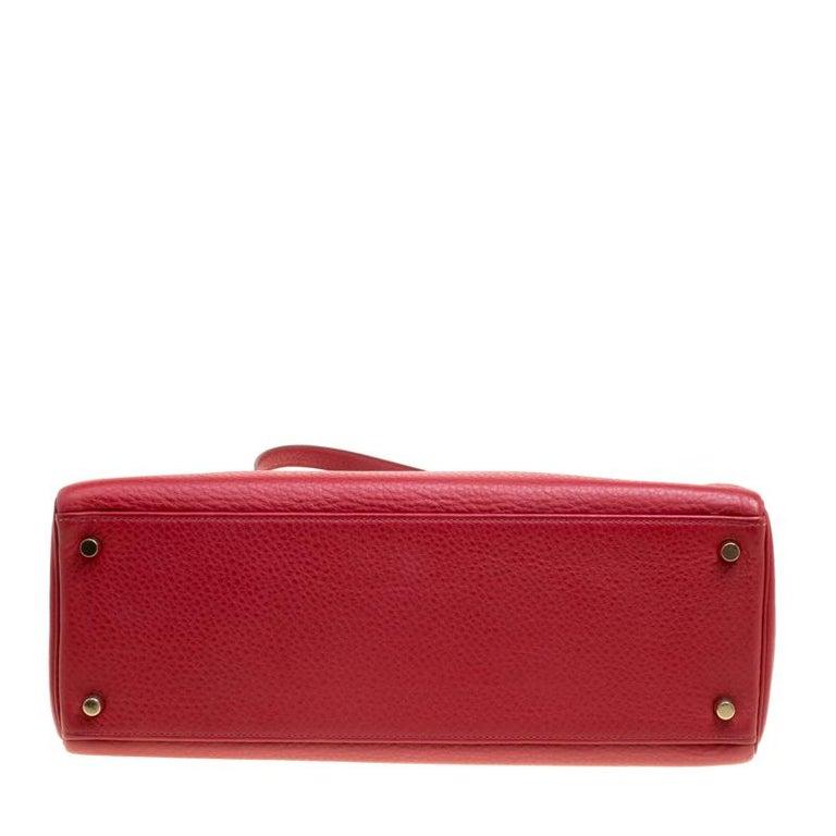 33a3ef17fc4 Hermes Rouge Garance Togo Leather Gold Hardware Kelly Retourne 35 Bag For  Sale 4