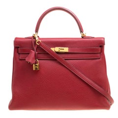 Hermes Rouge Garance Togo Leather Gold Hardware Kelly Retourne 35 Bag
