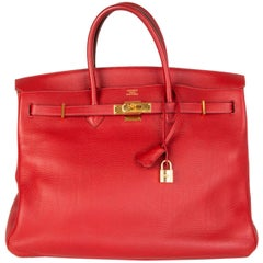 HERMES Rouge Garrance red Clemence leather BIRKIN 40 Tote Bag