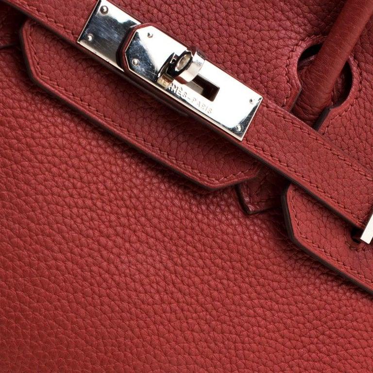 Hermes Rouge Grenat Togo Leather Palladium Hardware Birkin 30 Bag 5