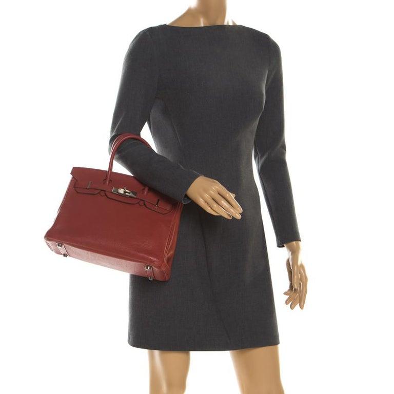 Brown Hermes Rouge Grenat Togo Leather Palladium Hardware Birkin 30 Bag