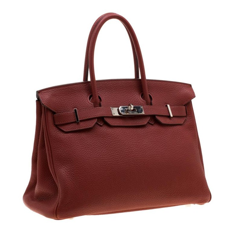 Hermes Rouge Grenat Togo Leather Palladium Hardware Birkin 30 Bag In Good Condition In Dubai, Al Qouz 2