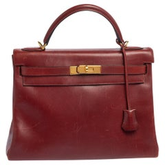 Hermes Rouge H Box Leather Gold Plated Kelly Retourne 32 Bag
