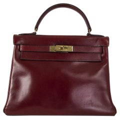 HERMES Rouge H burgundy Box KELLY I 28 RETOURNE Bag VINTAGE