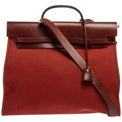 Hermes Rouge H/Cuivre Canvas and Leather Herbag Zip 39 Bag