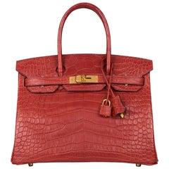 Hermès Rouge H Matte Alligator Birkin 30cm Gold Hardware