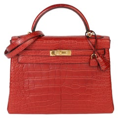 Hermès Rouge H Matte Mississippiensis Alligator Leather Kelly 32cm Retourne