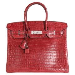 Hermès Rouge H Matte Porosus Crocodile Birkin 35 PHW