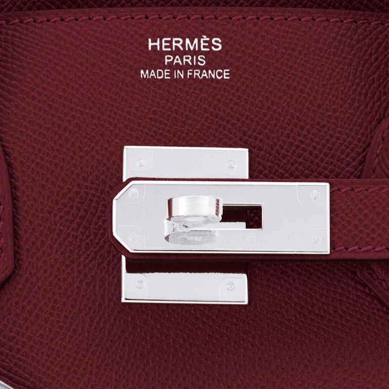 Hermes Rouge H Red Birkin 30cm Epsom Palladium Bag Y Stamp, 2020 For Sale 5