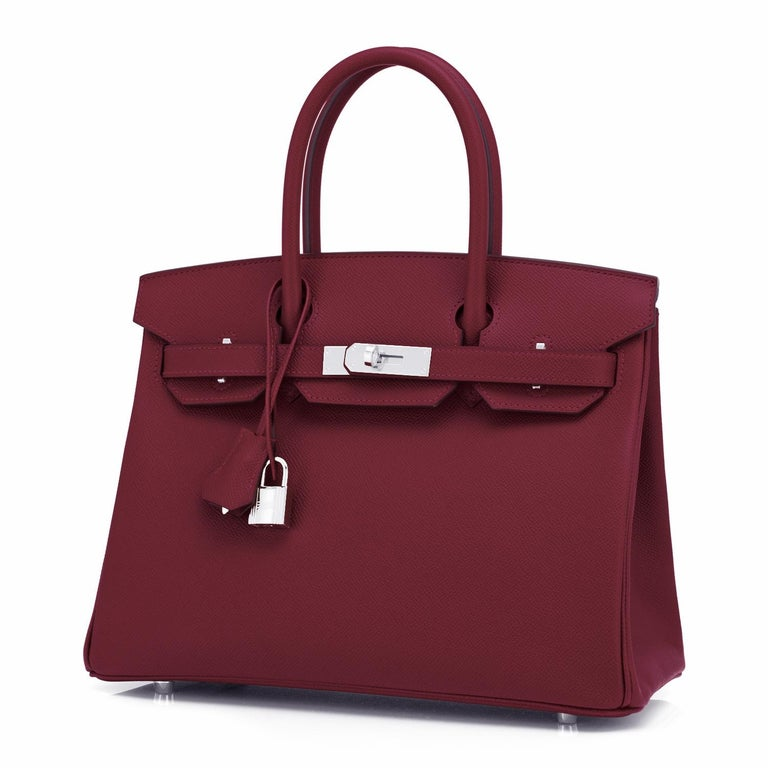 Hermes Rouge H 30cm Birkin Epsom Palladium Y Stamp, 2020 Devastatingly gorgeous!! Brand New in Box.  Store Fresh.  Pristine Condition (with plastic on hardware). Just purchased from Hermes store! Bag bears new interior 2020 Y Stamp. Perfect gift!