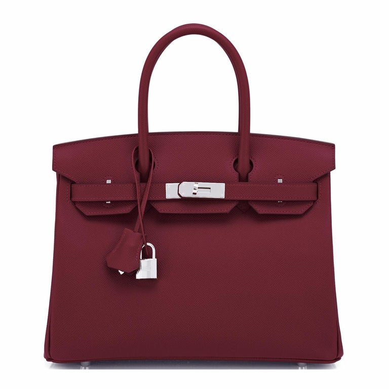 Brown Hermes Rouge H Red Birkin 30cm Epsom Palladium Bag Y Stamp, 2020 For Sale