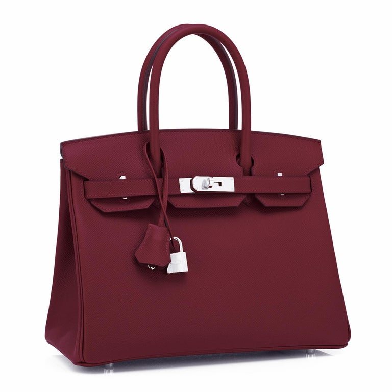 Hermes Rouge H Red Birkin 30cm Epsom Palladium Bag Y Stamp, 2020 In New Condition For Sale In New York, NY