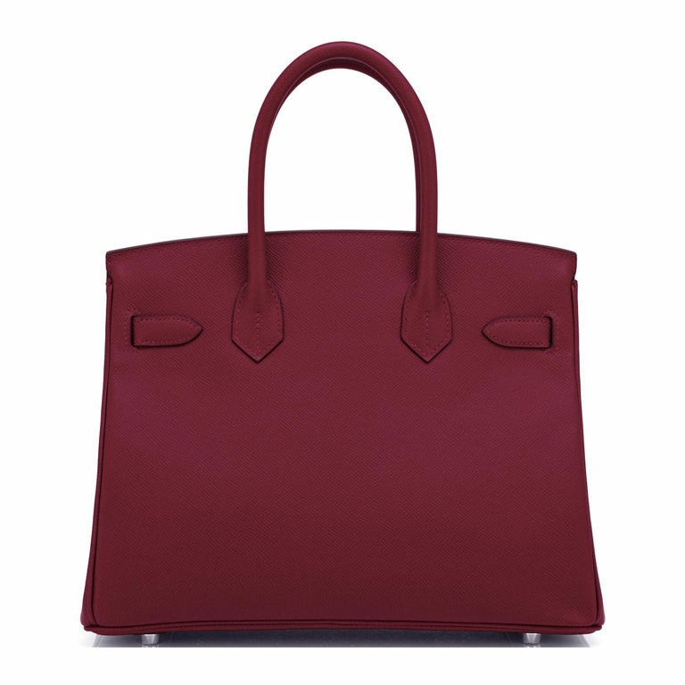 Women's or Men's Hermes Rouge H Red Birkin 30cm Epsom Palladium Bag Y Stamp, 2020 For Sale