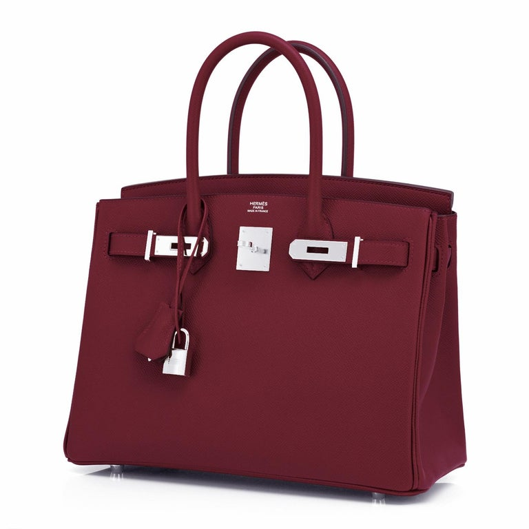 Hermes Rouge H Red Birkin 30cm Epsom Palladium Bag Y Stamp, 2020 For Sale 3