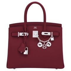 Hermes Rouge H Red Birkin 30cm Epsom Palladium Bag Y Stamp, 2020