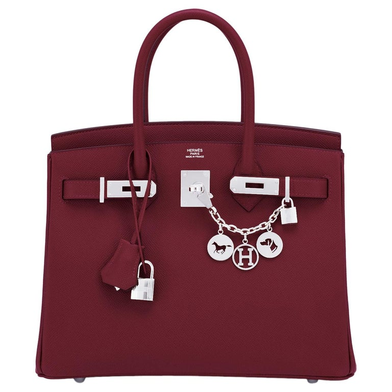 Hermes Rouge H Red Birkin 30cm Epsom Palladium Bag Y Stamp, 2020 For Sale