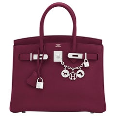 Hermes Rouge H Red Birkin 30cm Togo Palladium Bag Y Stamp, 2020