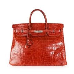 Hermès Rouge H Shiny Porosus Crocodile Birkin 40 PHW