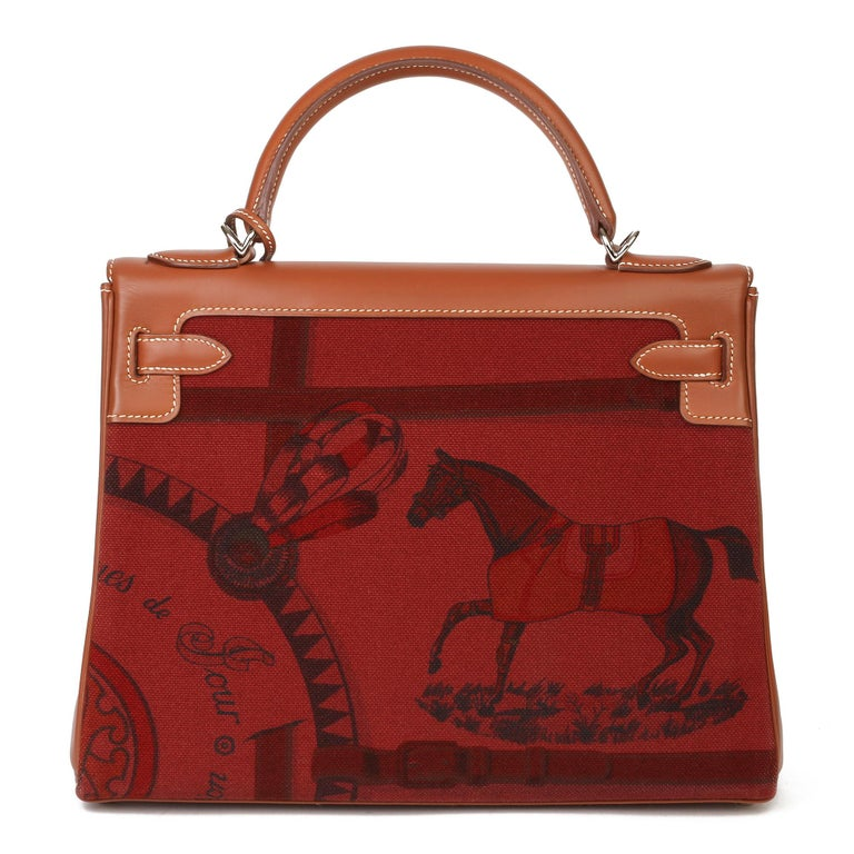Hermès Rouge H Toile & Barenia Horse Print Amazone Kelly 32cm Sellier For Sale 5