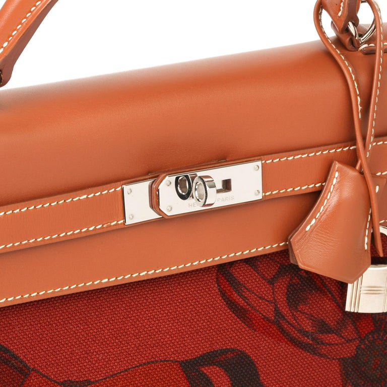 Brown Hermès Rouge H Toile & Barenia Horse Print Amazone Kelly 32cm Sellier For Sale