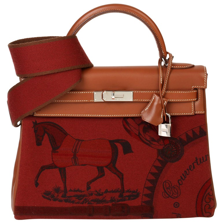 Hermès Rouge H Toile & Barenia Horse Print Amazone Kelly 32cm Sellier For Sale