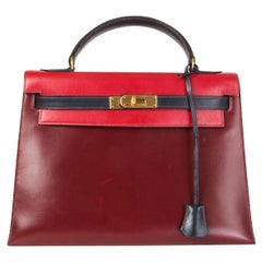 HERMES Rouge H & Vif red Marine blue Box leather KELLY 32 SELLIER Bag Tri-Color