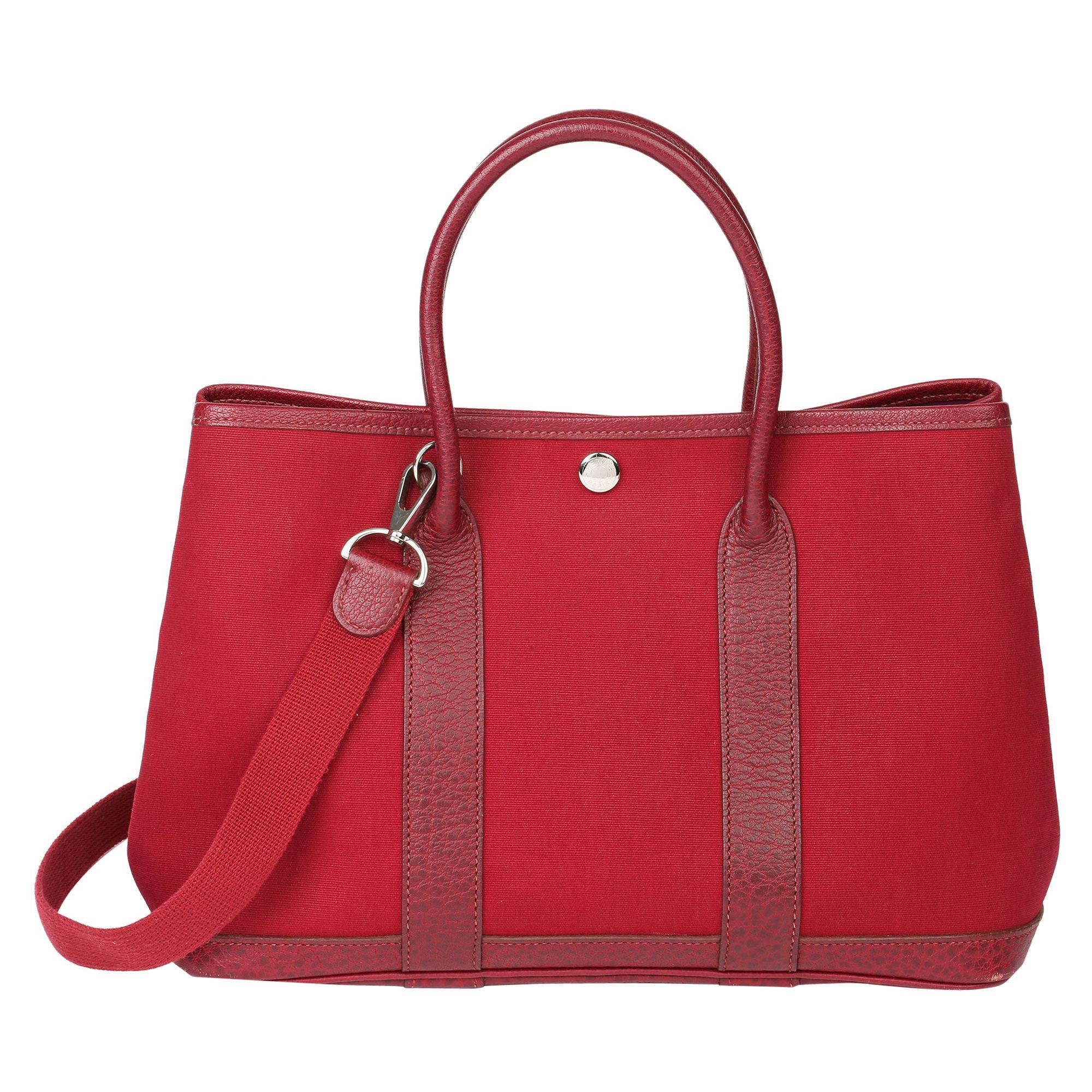 Hermès Rouge imperial Negonda Leather & Tosca Canvas Garden Party TPM
