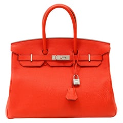 Hermès Rouge Jaipur Clemence 35cm Birkin with Palladium
