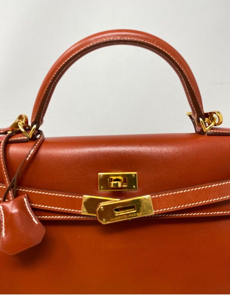 Hermes Rouge Kelly 35 Tadelakt Griss Interior Bag For Sale 5