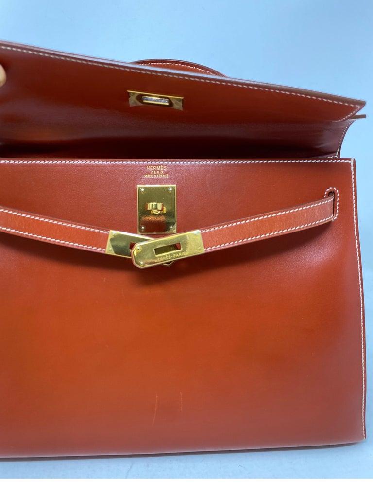 Hermes Rouge Kelly 35 Tadelakt Griss Interior Bag For Sale 6