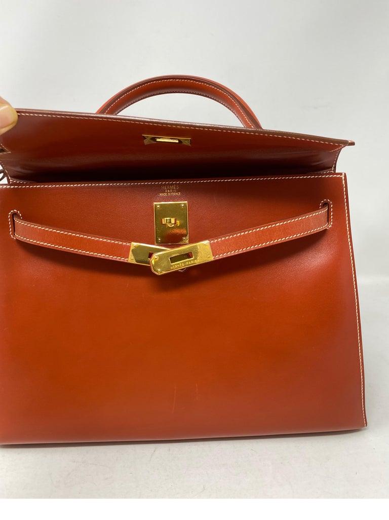 Hermes Rouge Kelly 35 Tadelakt Griss Interior Bag For Sale 7