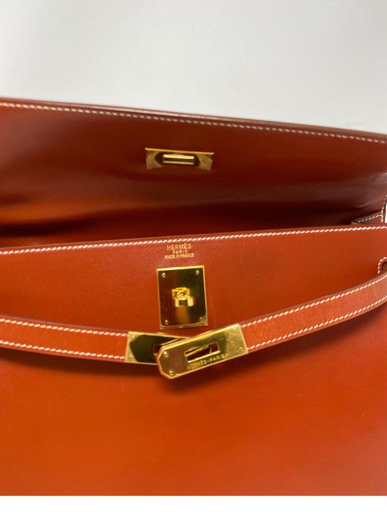 Hermes Rouge Kelly 35 Tadelakt Griss Interior Bag For Sale 9