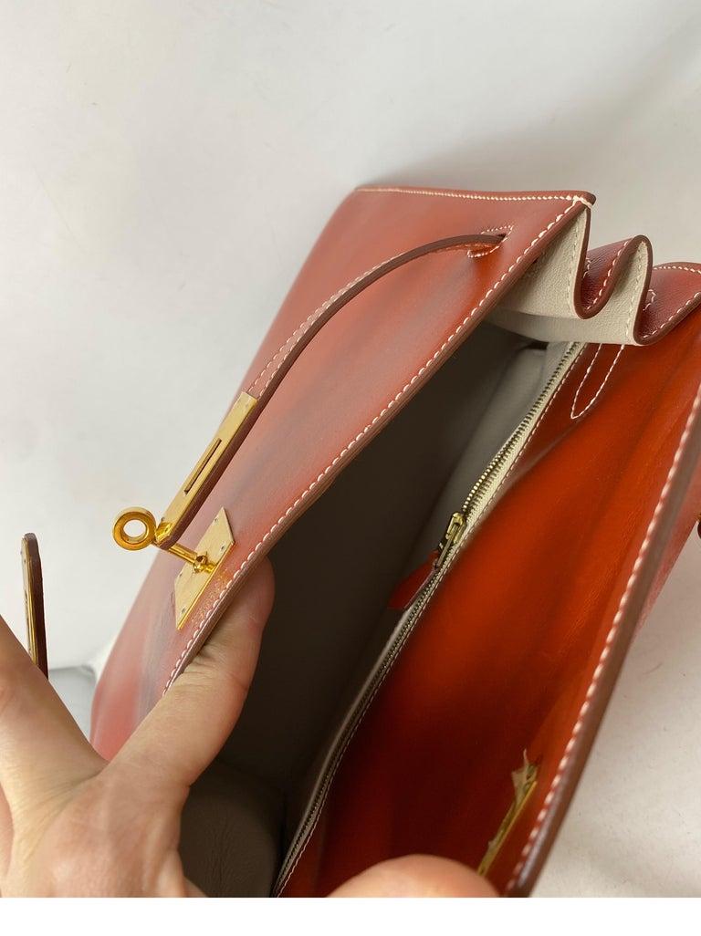 Hermes Rouge Kelly 35 Tadelakt Griss Interior Bag For Sale 11